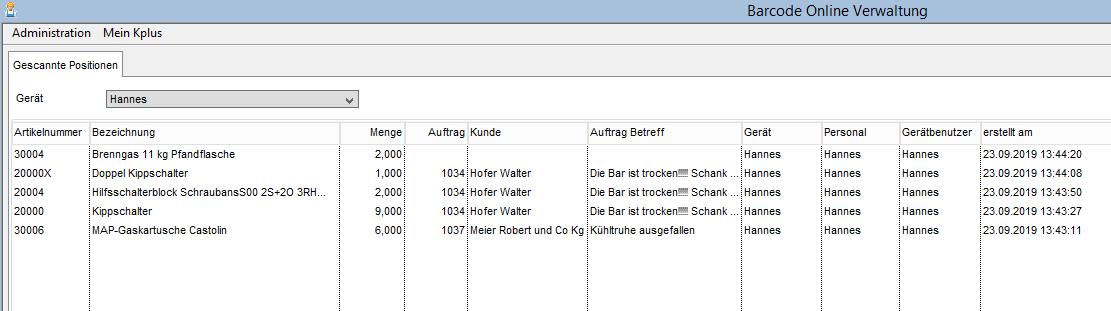 Barcode Online-Verwaltung
