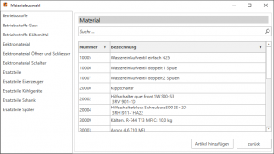 Kplus mobil Materialauswahl PC Client