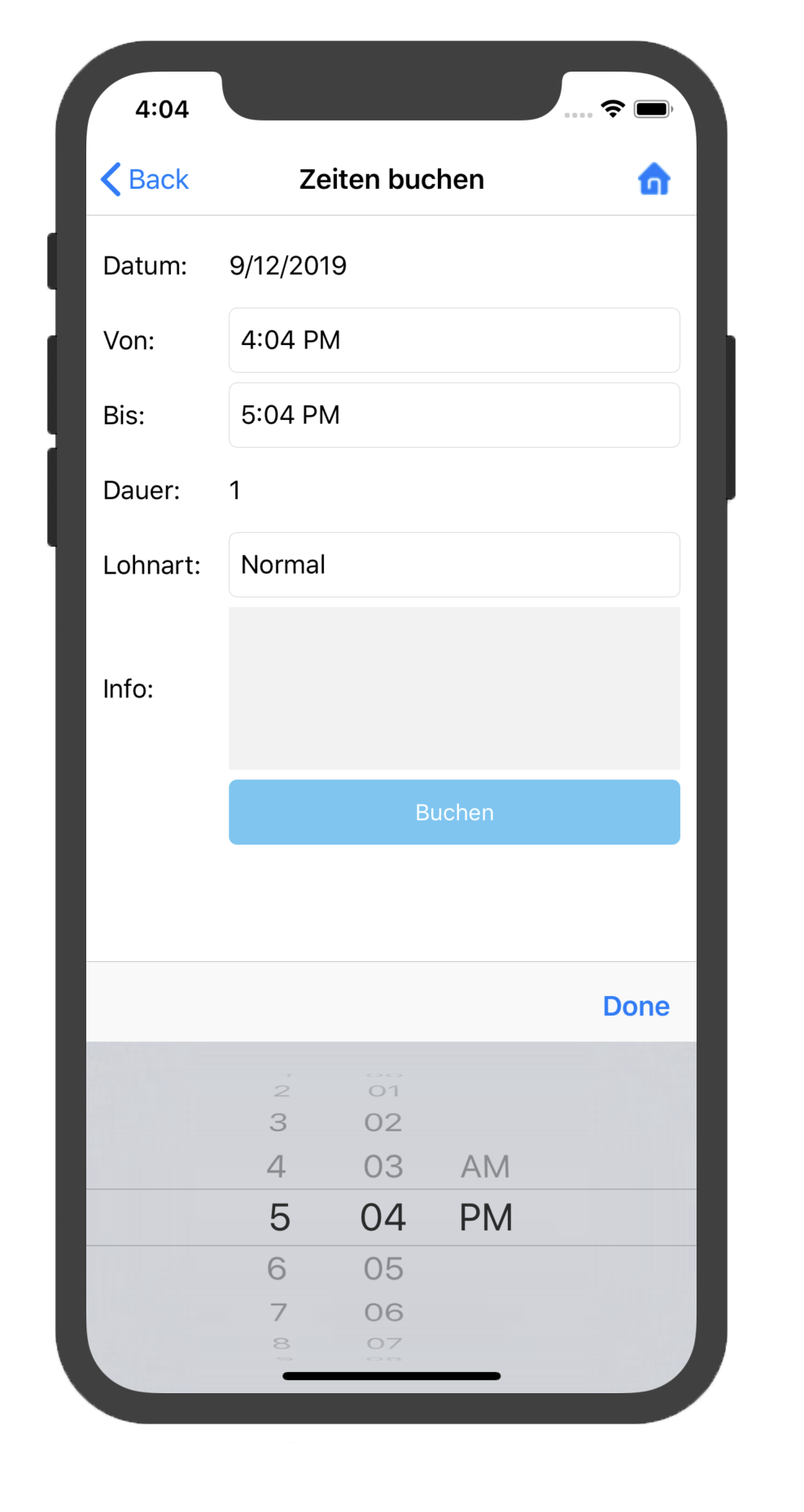 Kplus mobil Zeiten buchen iOS