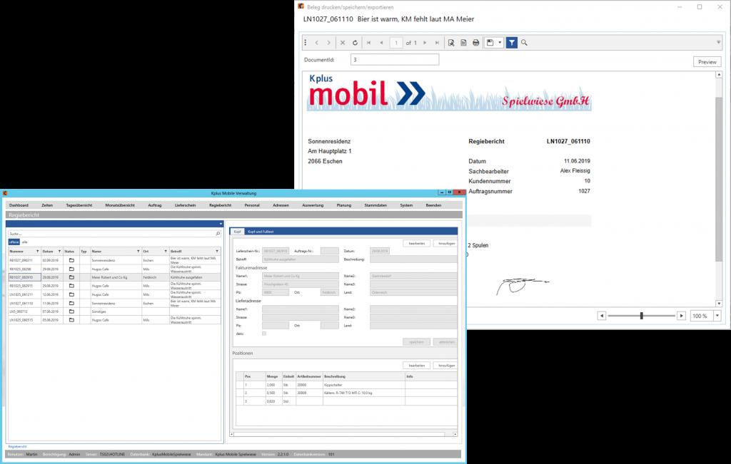 Kplus mobil Regieberichte