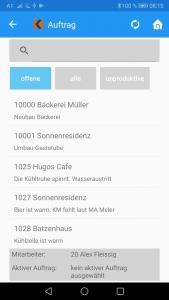 Auftragsübersicht Android