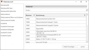 Kplus mobil Materialauswahl PC Client